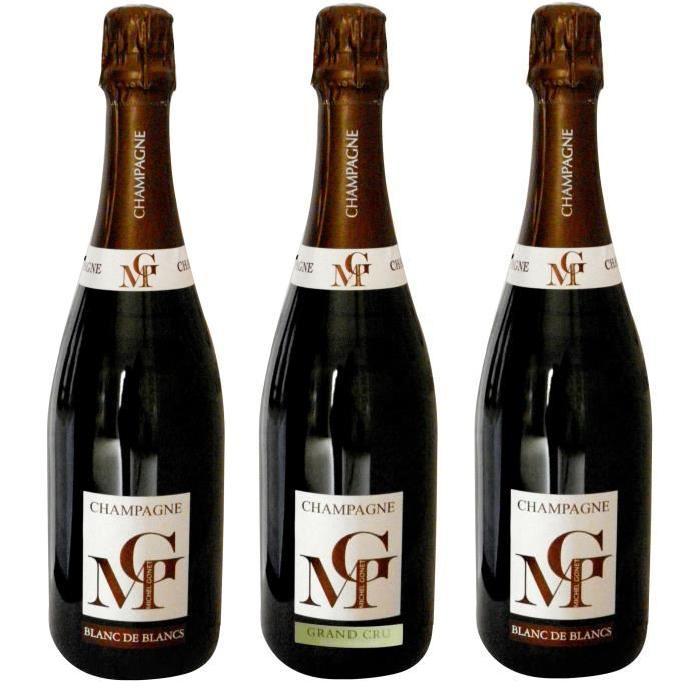 MICHEL GONET 2009 Coffret Découverte Terroir 3 Bulles Champagne Brut - Blanc de Blancs - 3 x 75 cl