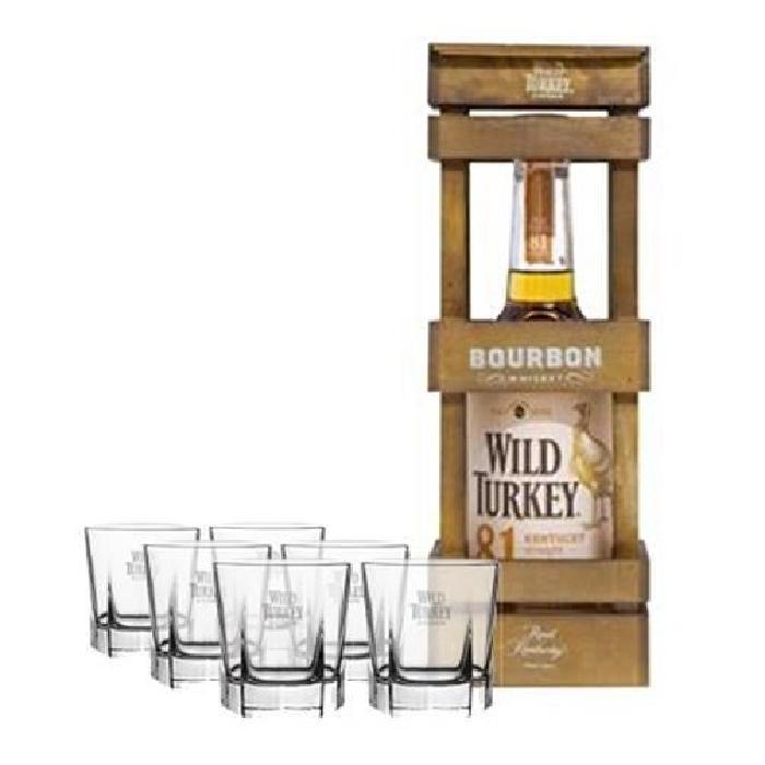 Wild tukey 81 70 cl coffret bois + 6 verres