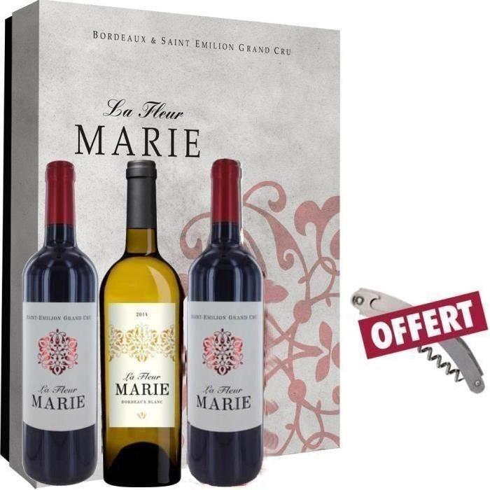 Coffret Fleur Marie 3 bouteilles et sommelier offert