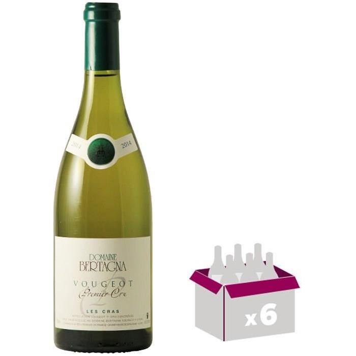 CHÂTEAU DE CLOS DE BOUGEOT Domaine Bertagna Vougeot Les Cras 2013 - Premier Cru - Vin Blanc - 75 cl x6