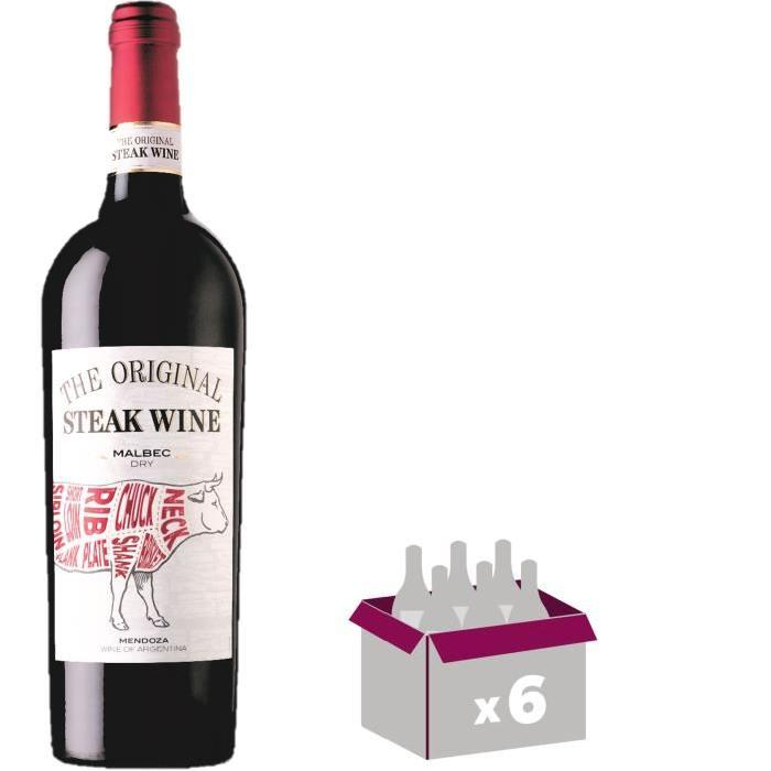 THE ORIGINAL STEAK WINE Malbec Vin d'Argentine - Rouge - 75 cl x 6